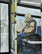 Quebec Art Prints - Old Man on the Bus Print by Reb Frost