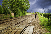 Old Man Walks Along Train Tracks Print by Christopher and Amanda Elwell