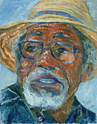 African American Paintings - Old Man Wearing A Hat by Xueling Zou