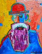 Old Man With Beard Prints - Old Man With Red Bowler Hat Print by Ana Maria Edulescu