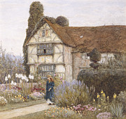 Garden House Framed Prints - Old Manor House Framed Print by Helen Allingham