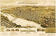 Texas Drawings - Old Map Laredo Texas by Pg Reproductions