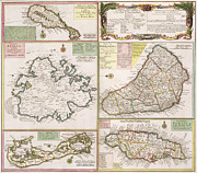 St Kitts Drawings Prints - Old Map of English Colonies in the Caribbean Print by German School