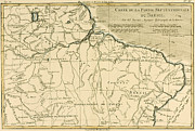 Globe Drawings Framed Prints - Old Map of Northern Brazil Framed Print by Guillaume Raynal