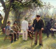 Talking Painting Prints - Old Men in Rockingham Park Print by Walter Bonner Gash
