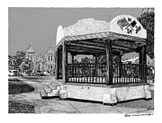 Pen And Ink Art Drawings Framed Prints - Old Mesilla Plaza and Gazebo Framed Print by Jack Pumphrey