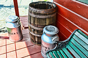 Red And Green Photo Metal Prints - Old milk cans and rain barrel. Metal Print by Paul Ward