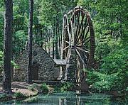Mills Framed Prints - Old Mill At Berry In Pencil Framed Print by Johann Todesengel