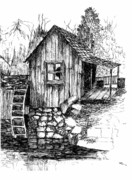 Grist Mill Drawings - Old Mill by Barney Hedrick
