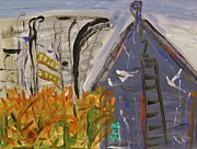 Labor Drawings - Old Mill Building-Autumn by Mary Carol Williams