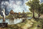 Oil On Canvas Drawings - Old Mill by the Brook - Landscape Oil by Peter Art Prints Posters Gallery