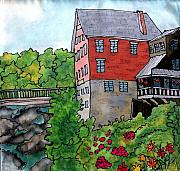 River Tapestries - Textiles Prints - Old Mill in Bradford Print by Linda Marcille