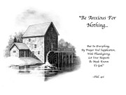 Bible Drawings Prints - Old Mill in Pencil With Bible Verse Print by Joyce Geleynse