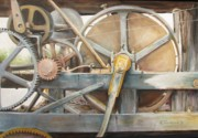 Bolts Painting Prints - Old Mine Engine Print by Oz Freedgood