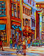 Montreal Diner Paintings - Old Montreal Bike Path by Carole Spandau