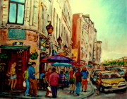 Staircase Paintings - Old Montreal Cafes by Carole Spandau
