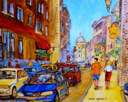 Montreal Streetscenes Painting Prints - Old Montreal Print by Carole Spandau