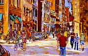 Montreal Sidewalk Terraces Acrylic Prints - Old Montreal Paintings Bistros Boutiques Cafes And Souvenir Shops Rue St. Paul Montreal Street Scene Acrylic Print by Carole Spandau