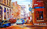 Montreal Sidewalk Terraces Acrylic Prints - Old Montreal Paintings Calvet House And Restaurants Acrylic Print by Carole Spandau