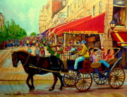 Montreal Street Life Paintings - Old Montreal Restaurants by Carole Spandau