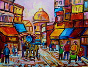 Montreal Cityscapes Paintings - Old Montreal Rue St. Paul And Bonsecour Market by Carole Spandau