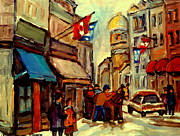 Flags Paintings - Old Montreal Rue St Paul Winterscene With Caleche  by Carole Spandau