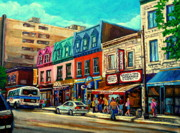 Montreal Street Life Painting Prints - Old Montreal Schwartzs Deli Plateau Montreal City Scenes Print by Carole Spandau