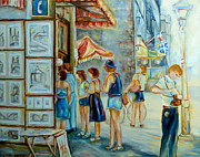 Flags Paintings - Old Montreal Street Scene by Carole Spandau