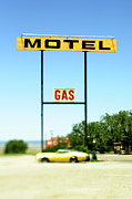 Driving Life Framed Prints - Old Motel and Gas Signs Framed Print by Eddy Joaquim