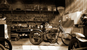 Wheels Digital Art Posters - Old Motorcycle Shop Poster by Mike McGlothlen