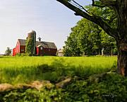 Red Barn Prints - Old New England Farm Print by Elzire S