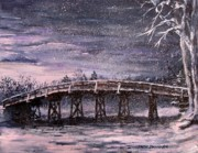 New England Snow Scene Painting Posters - Old North Bridge in Winter Poster by Jack Skinner