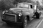 American Trucks Framed Prints - Old Nostalgic American GMC Flatbed Truck . 7D9821 . Black and White Framed Print by Wingsdomain Art and Photography