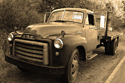 American Trucks Framed Prints - Old Nostalgic American GMC Flatbed Truck . 7D9821 . Sepia Framed Print by Wingsdomain Art and Photography