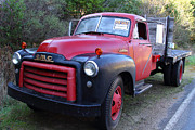 American Trucks Framed Prints - Old Nostalgic American GMC Flatbed Truck . 7D9821 Framed Print by Wingsdomain Art and Photography
