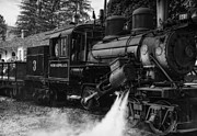 Black Rocket Digital Art - Old Number Three_Climax Locomotive_Durbin WV _BW by Kathleen K Parker