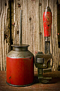 Cans Acrylic Prints - Old oil can and wrench Acrylic Print by Garry Gay