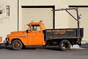 Old Chevrolet Truck Posters - Old Orange American Chevy Chevrolet 3600 Truck . 7D12735 Poster by Wingsdomain Art and Photography