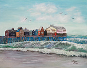 Maine Shore Painting Originals - Old Orchard Beach by Linda Krider Aliotti