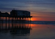 Maine Metal Prints - Old Orchard Beach Sunrise Metal Print by Laurie Breton