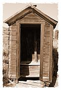 Historic Site Photo Metal Prints - Old Outhouse in Bodie Ghost Town California Metal Print by George Oze