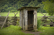 Smokey Mountains Framed Prints - Old Outhouse on a Farm in the Smokey Mountains Framed Print by Randall Nyhof