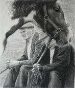 Equine Drawings - Old Pals Spancilhill by Tomas OMaoldomhnaigh