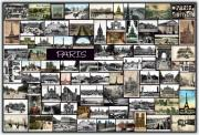 Skylines Pyrography Posters - Old Paris Collage Poster by Janos Kovac
