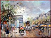 A Summer Evening Paintings - Old Paris by Mauro Portente