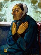 Crossed Framed Prints - Old Peasant Woman Framed Print by Paula Modersohn-Becker
