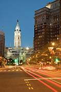 Long Street Prints - Old Philadelphia City Hall At Night Print by Travelif
