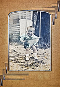 Susan Leggett Photo Metal Prints - Old Photo of a Baby Outside Metal Print by Susan Leggett