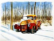 Rusty Truck Paintings - Old Pick-Up truck in the snow by Rick Mock