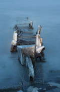 Tom Biegalski Metal Prints - Old pier on a Winter evening Metal Print by Tom Biegalski